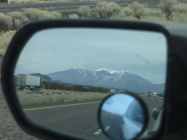 With the pedal to the metal we are safely leaving flagstaff in our rear view mirror!  Cool view of San Francisco peak too.