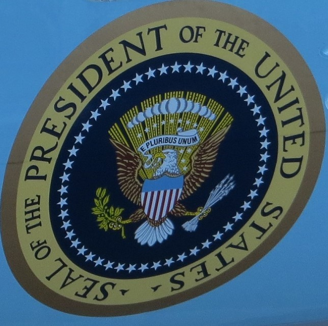 Photo of presidential seal on Air Force One – air craft number 2700