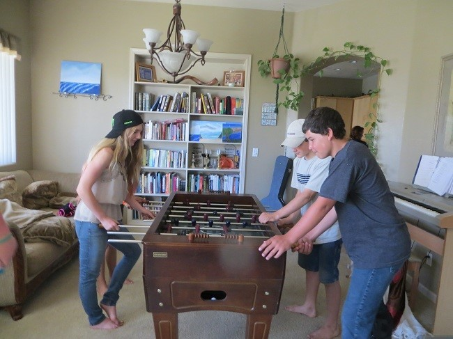 Margie was up in Stockton visiting her brother and sister in law. Due to their religious faith, and dietary requirements we got to experience some new foods that we were previously unaware of, which was a real treat. Holly and the boys are giving the fooze ball table a workout.