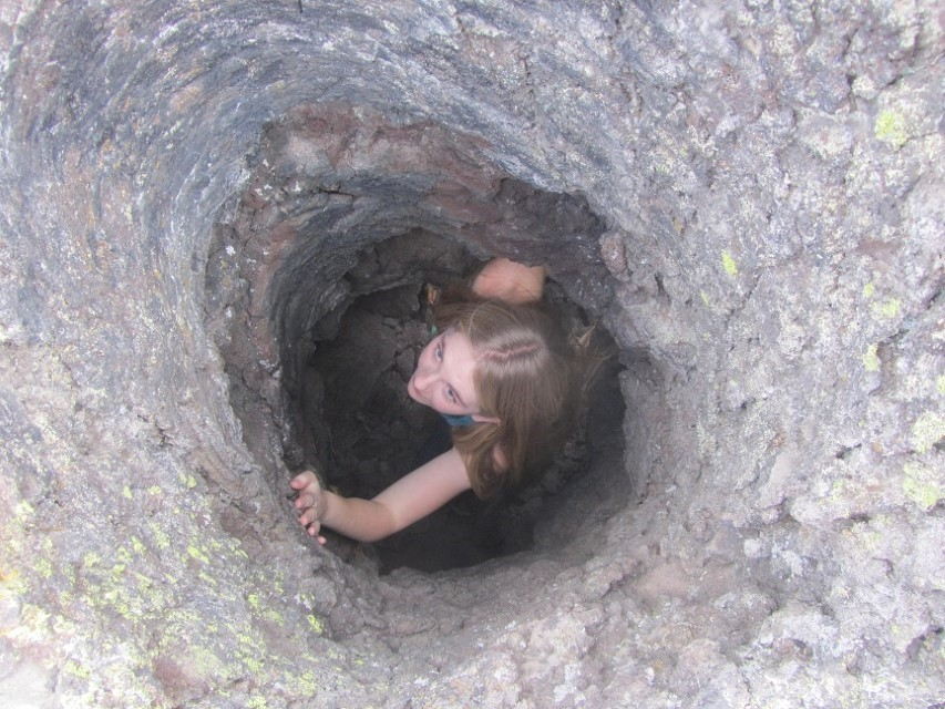 Holly explores the hole