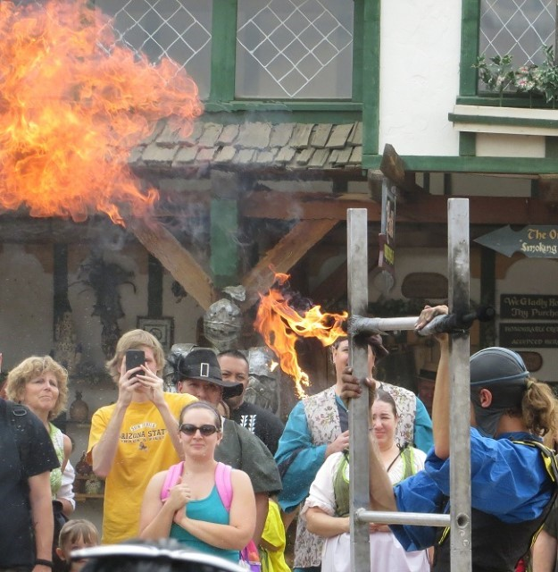 I like this guy! He is only blowing fire!