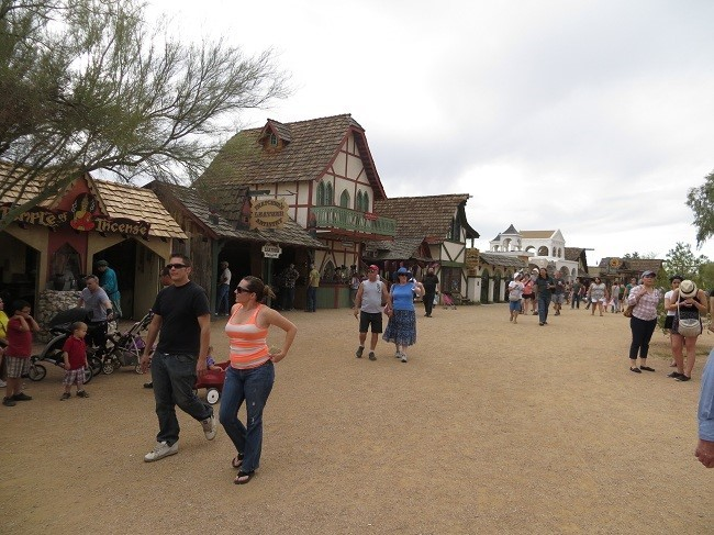 The buildings and shops here are fun