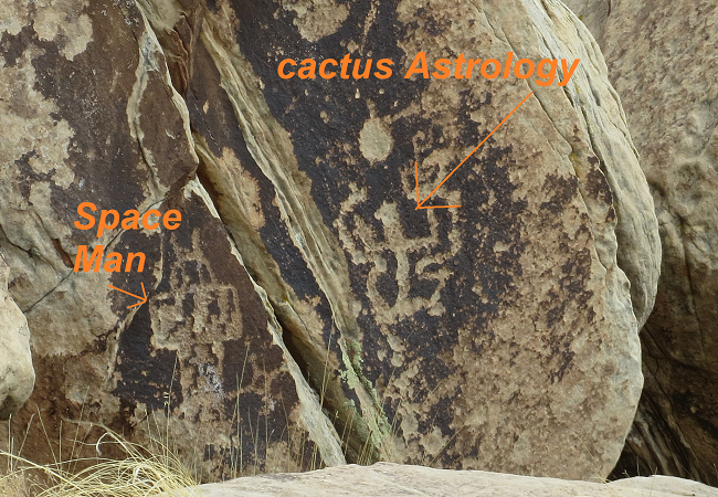 Sarah found evidence that who ever carved these images was here when NASA faked the moon landing. There is a spaceman carved in the rock.
