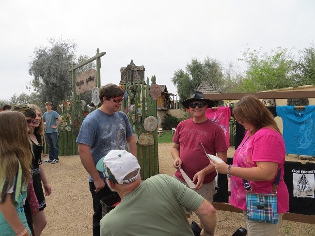 We regroup on the opposite side of the entrance gate planning our mission.