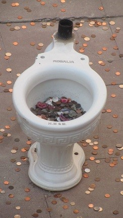 If your city does not have a pond for people to throw coins in, there is always an alternative. (Ron, now that you are mayor, maybe you could use this idea in Farmington. I am sure the city could use the revenue.)