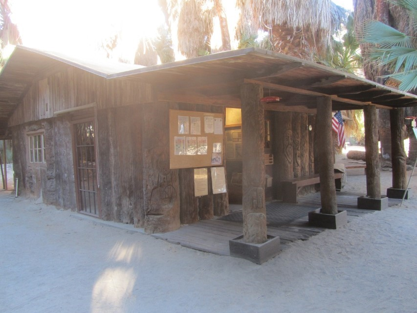 Its is about time we arrived at the Cochella Preserve. We had to drive out on Washington Street from the Thousand Trails preserve. Drove about 7 Miles then we turned right on Thousand Palms drive and drove about 1.5 miles. On the left is a dirt parking lot, about 50 yards from this log cabin which is the visitors center.