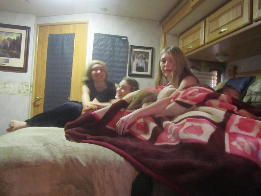 Back at home, the girls decide to mess up the bedroom, and have a great time doing it.