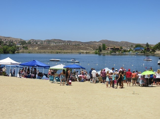 Waiting for the water skiing competition