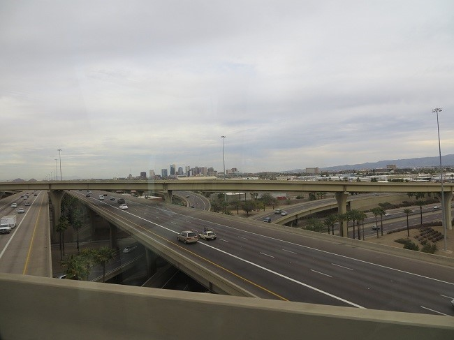 We arrive in Phoenix, and are on the top layer of  at least three layers of bridges.
