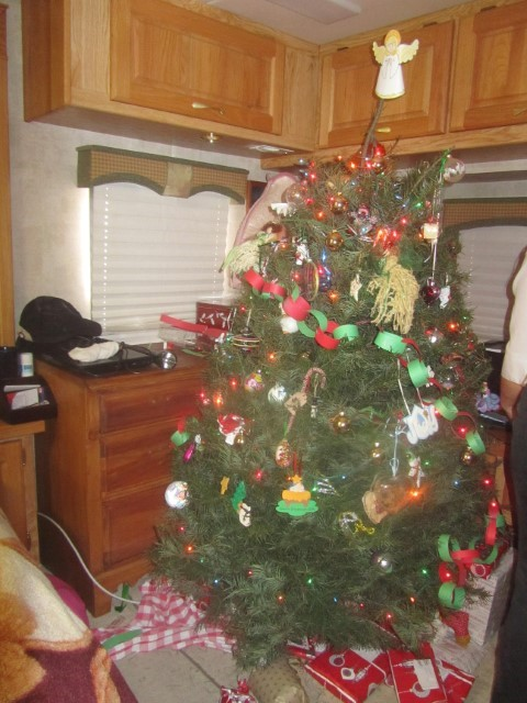 Back at camp, I admire Sarah's handy work with the Christmas tree.