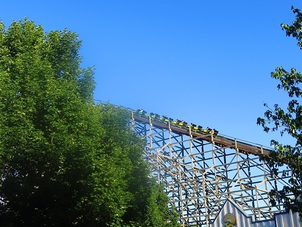 The cars go 85′ into the sky suspended by nothing but wooded girders.