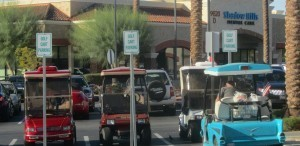 Stores also create parking just for golf carts