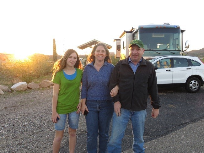 As we headed out on our evening walk the last night we were to be in Phoenix, a lady saw us with our camera and offered to take our picture. The last time that happened was at Busch Gardens, Victoria B.C.  2006!  We were kind of surprised, but there is only three of us this time, and we are much older.
