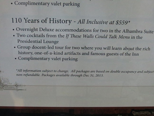 But it is only $600 a night plus tips, tax, and those little extras. Just think of all the history we could learn.