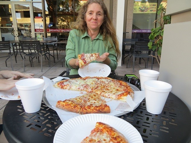 The pizza is a hit with the ladies – we are livin' large! Good Evening and Good Night!! -