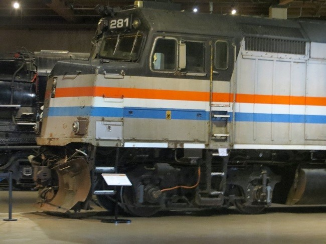 Amtrak is here! Looks like you would have to be young to drive this train. That is some ladder!