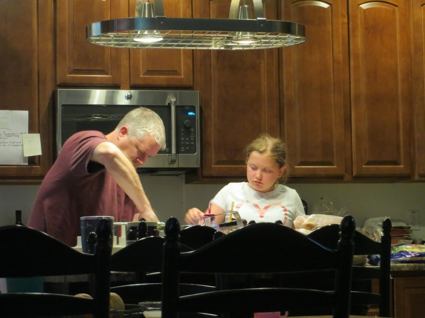 Father and Daughter make desert