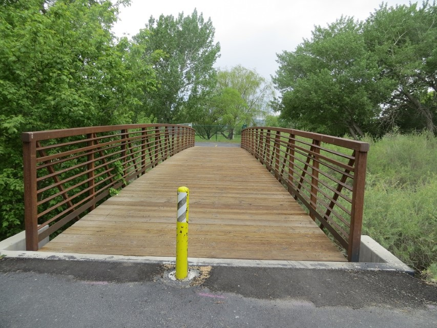 We use a bridge to cross Spanish Forks River