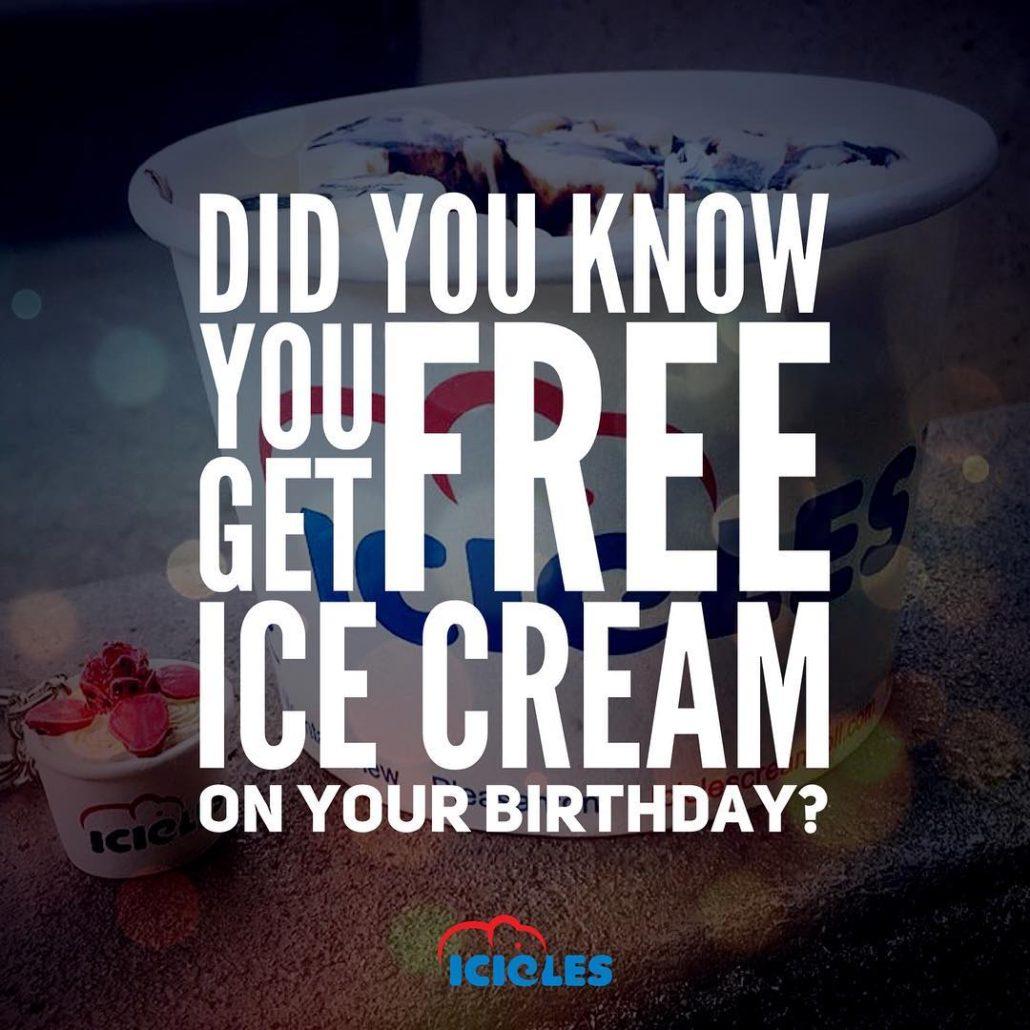 Free ice cream icicles birthday