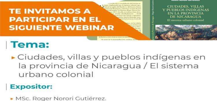 Presentación virtual de Ciudades, villas y pueblos indígenas en la provincia de Nicaragua