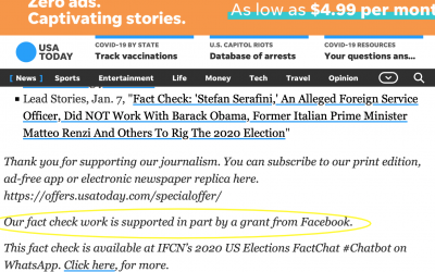 In The News: USA Today fact check articles–including ItalyGate fact check–funded in-part by Facebook