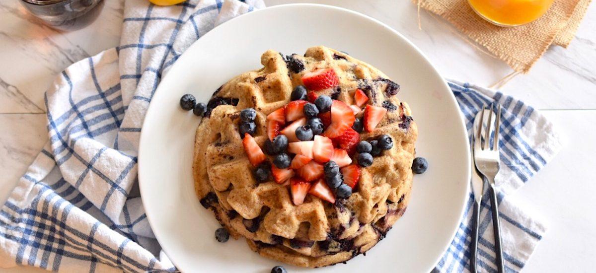 Gluten-Free Lemon, Blueberry Waffles   Anti-Candida