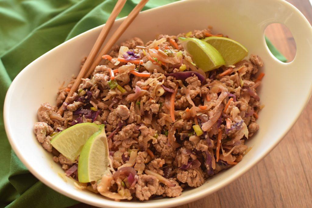 healthy asian turkey cabbage saute