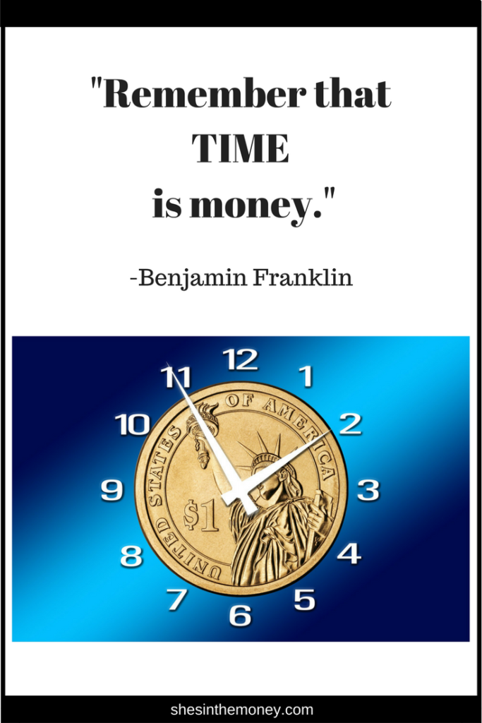 Remember that time is money, quote by Benjamin Franklin.