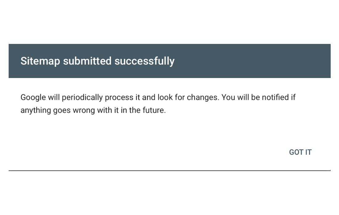 Sitemap submitted successfully.