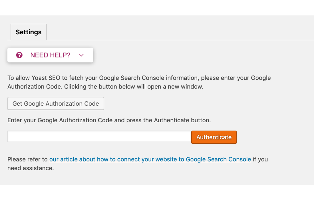 Click on the link that says connect with Google Search Console here.