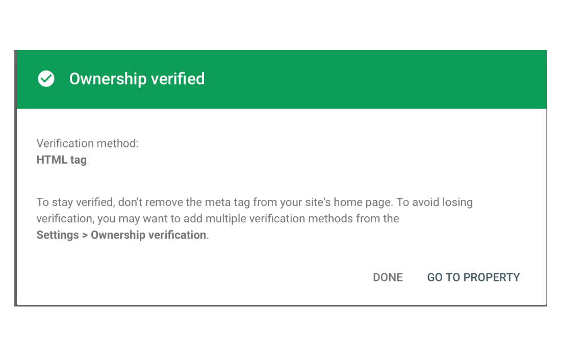 Website ownership is now verified.
