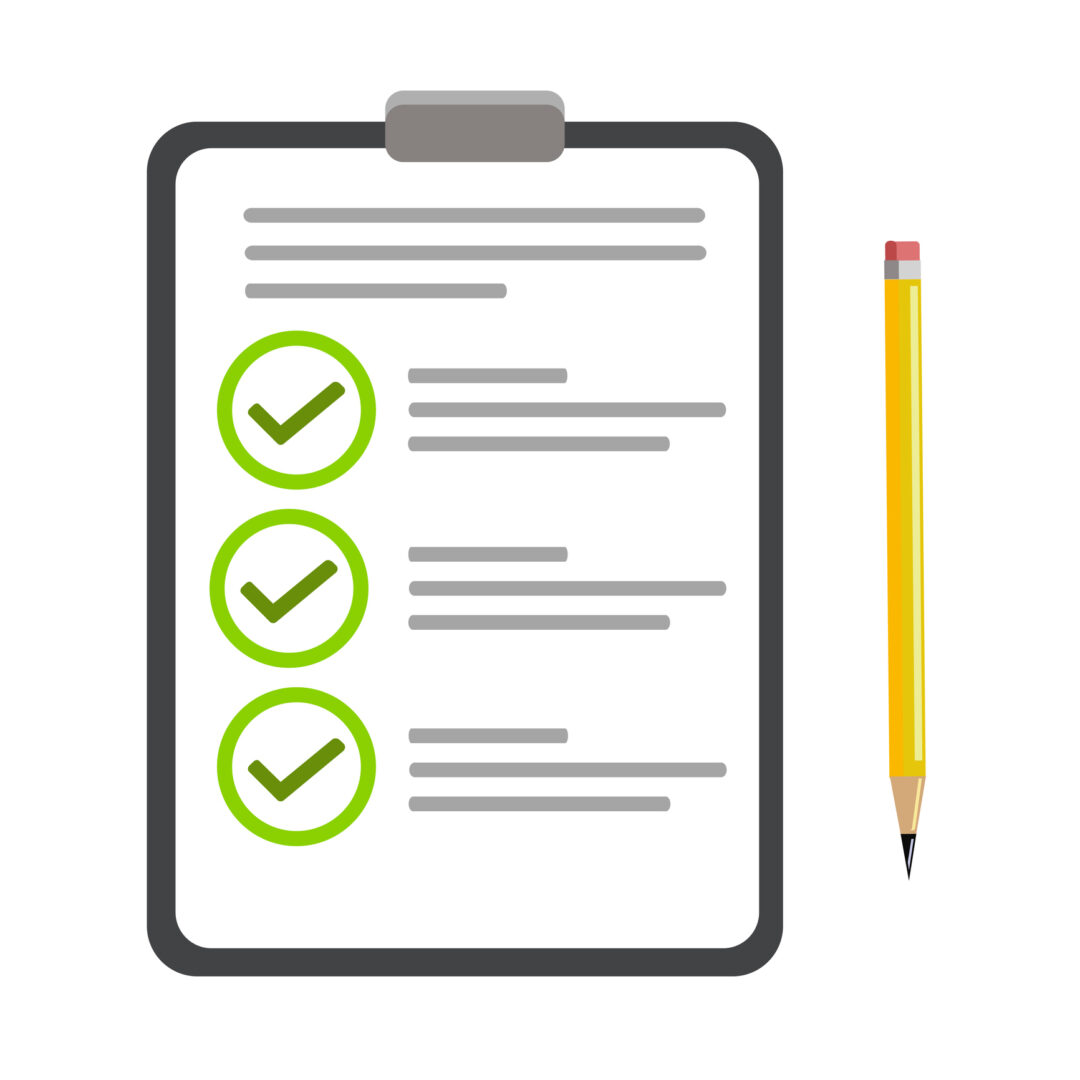 A document with a checklist. Vector illustration object clipboard with checklist icon. Flat style isolated on background for labels, logo, wallpapers, web page, web banner, backgrounds.