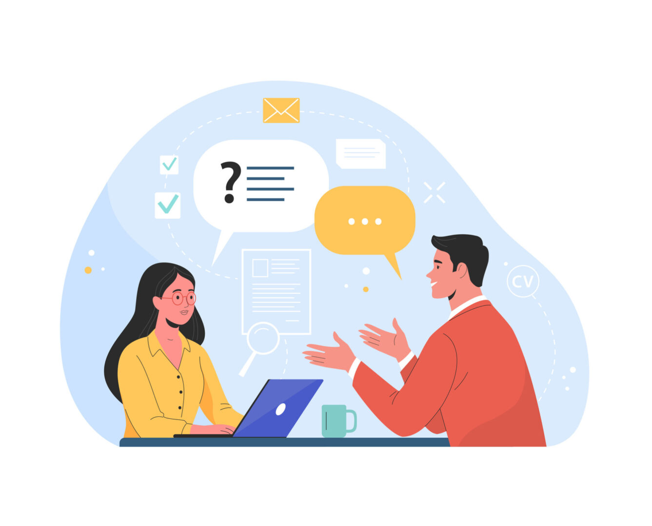 Vector flat modern illustration of a man talking to a young woman with laptop. Isolated on background