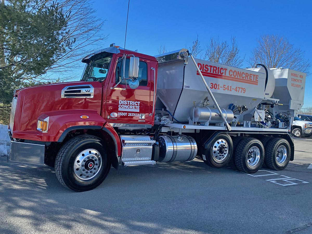 district concrete truck front