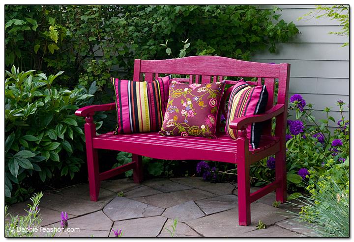 Colorful garden bench