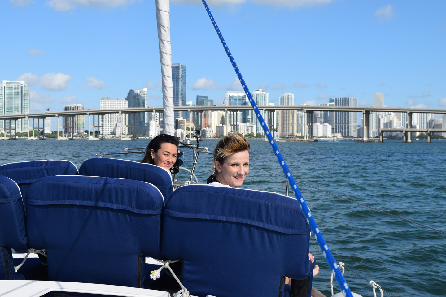 SAILING ALONG DOWNTOWN TO ADMIRE THE CITY SKYLINE