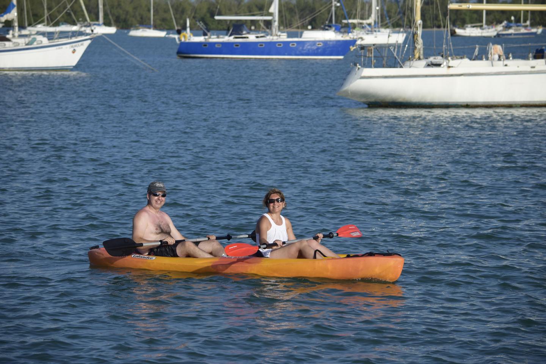 kayaking on a sailing charter