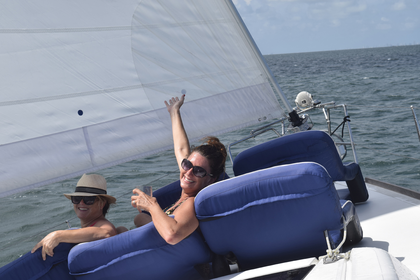 ladys at the bow in a sailing tour