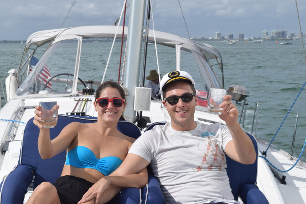 Couple on a sailing charter tour.