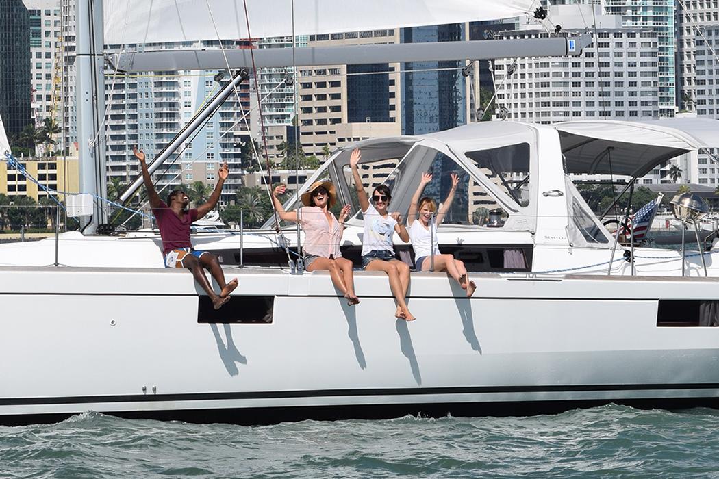 Having fun while sailing in Miami