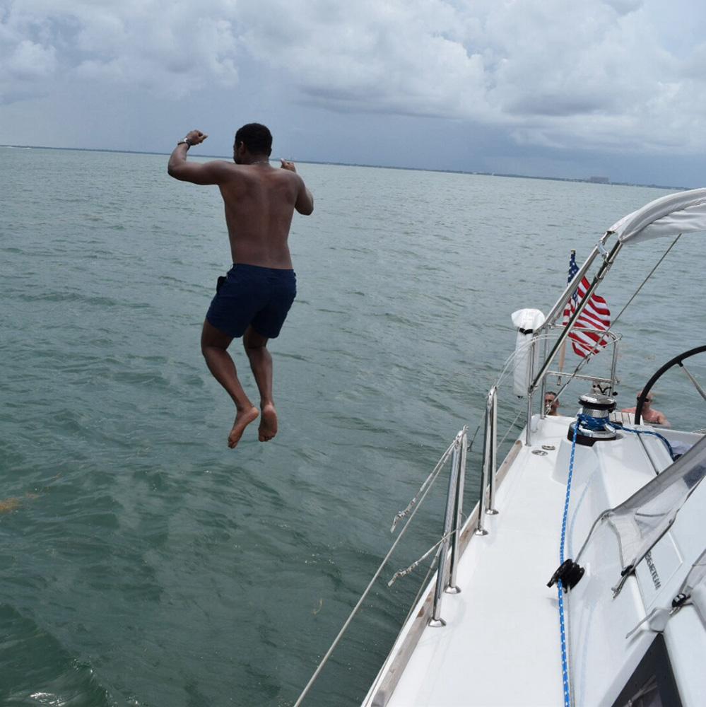 Jumping from sailboat