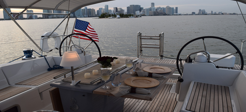 Dinner while sailing in Miami