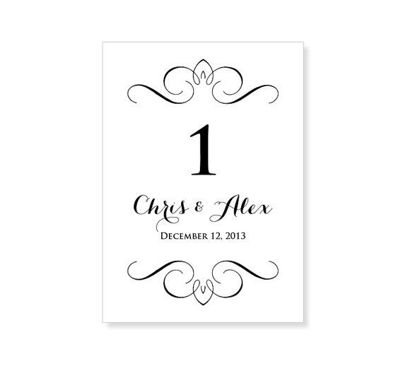 Elegant wedding table number set