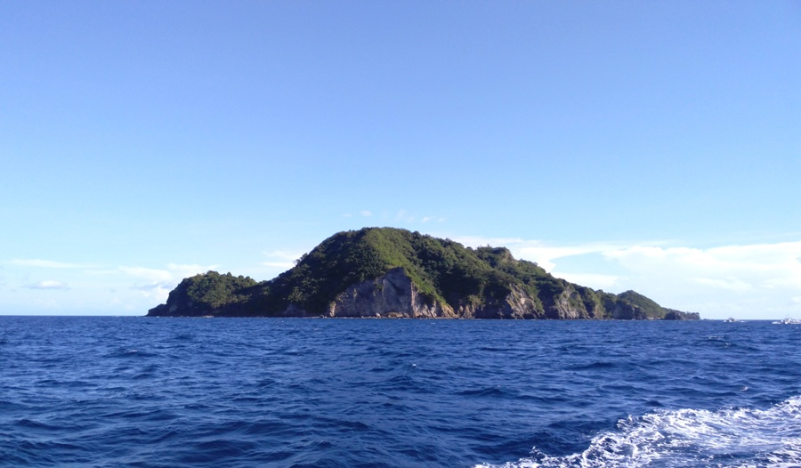 It's a beautiful volcanic island from afar.