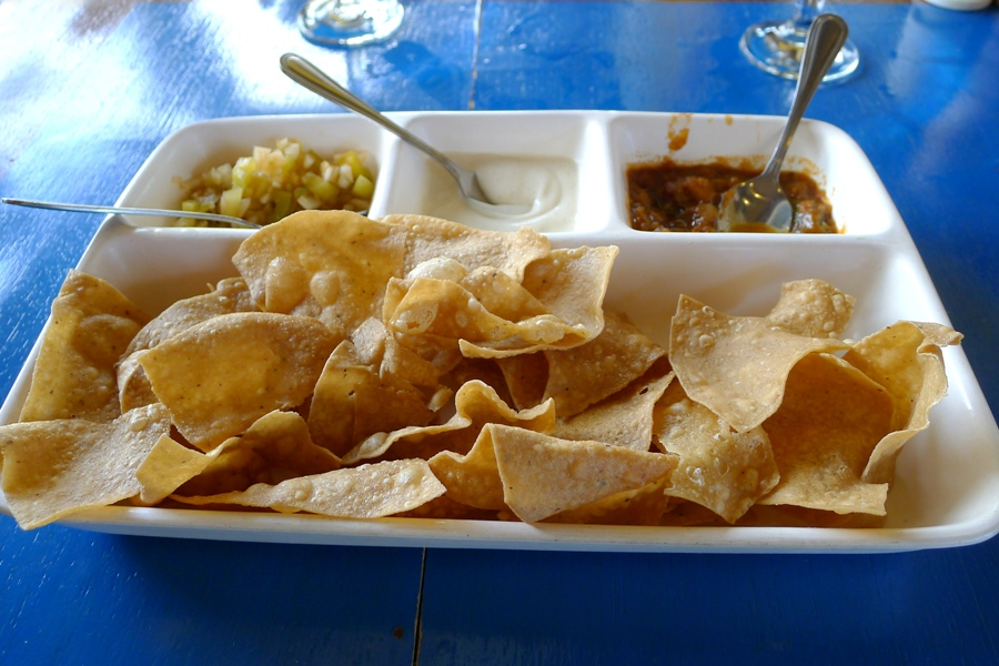 Nacho Chips with 3 types of dips.