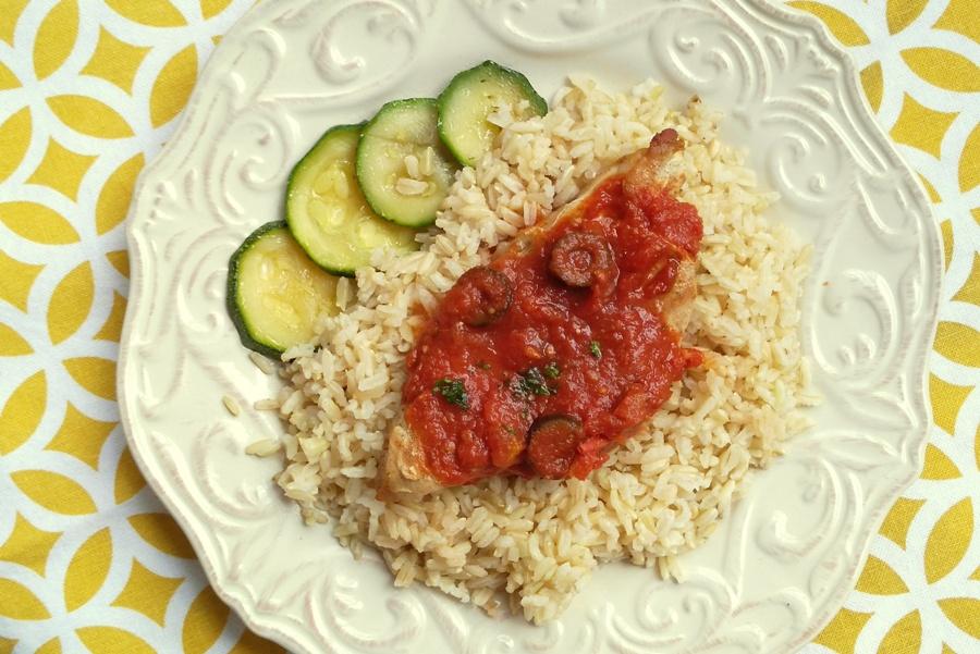 Chicken Puttanesca with Brown Rice