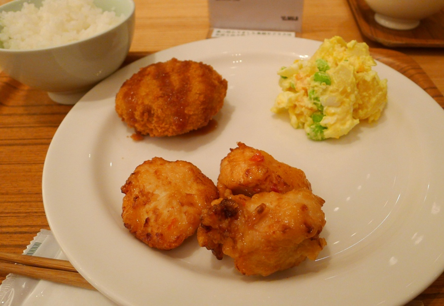 My lunch set. Potato Corn Salad, Potato Croquettes and Fried Chicken Sweet Chili Mayonnaise