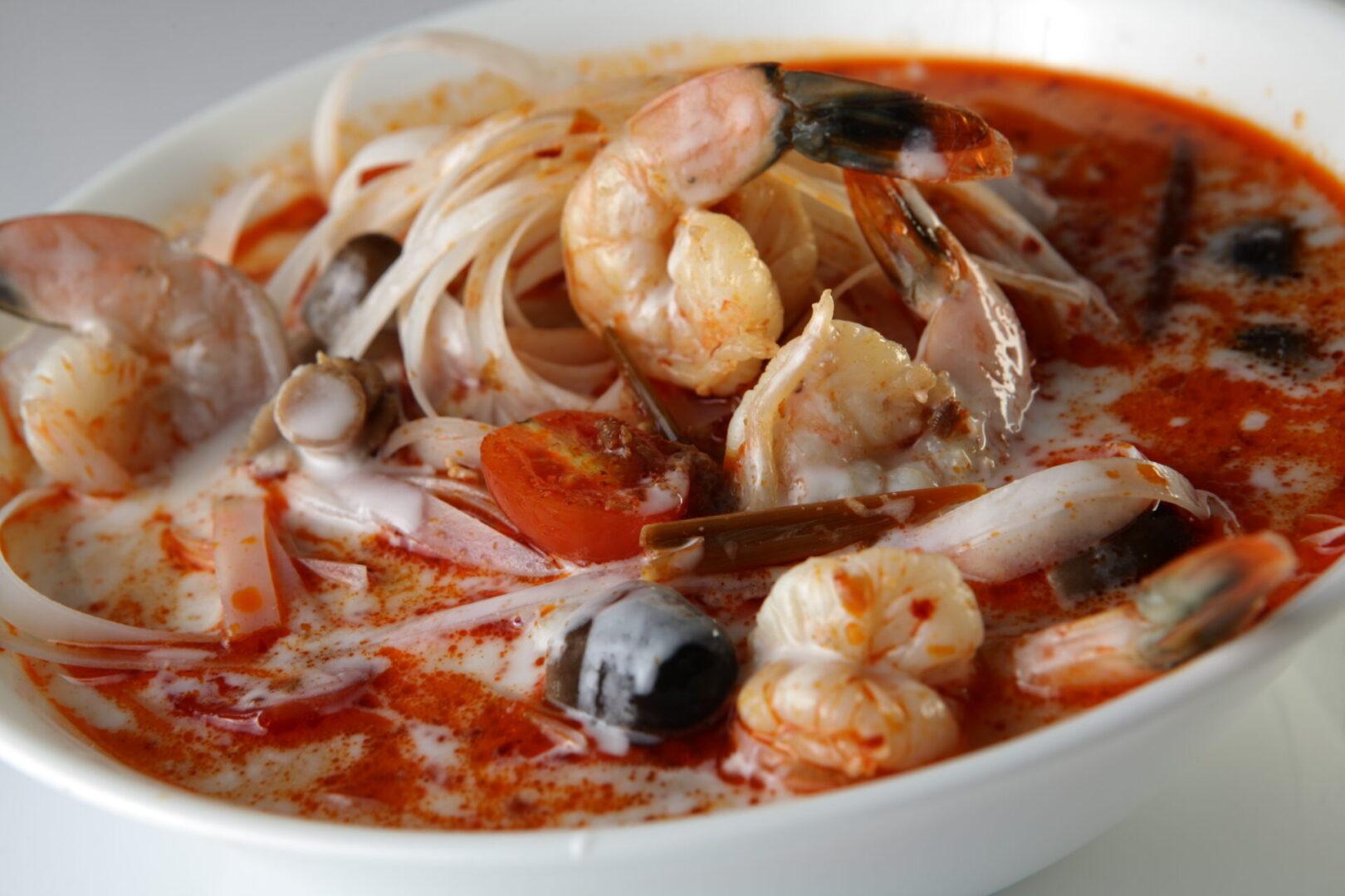 Tom Kha Noodle Soup with Shrimp