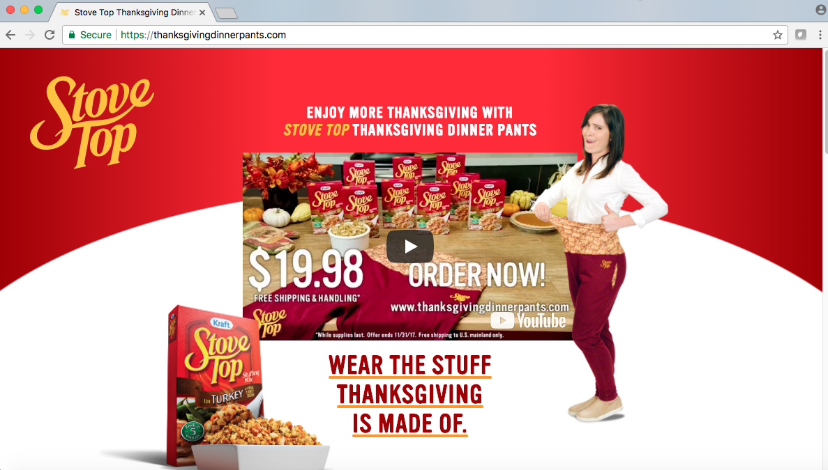 Great Marketing Campaigns   Stovetop Stuffing Thanksgiving Dinner Pants