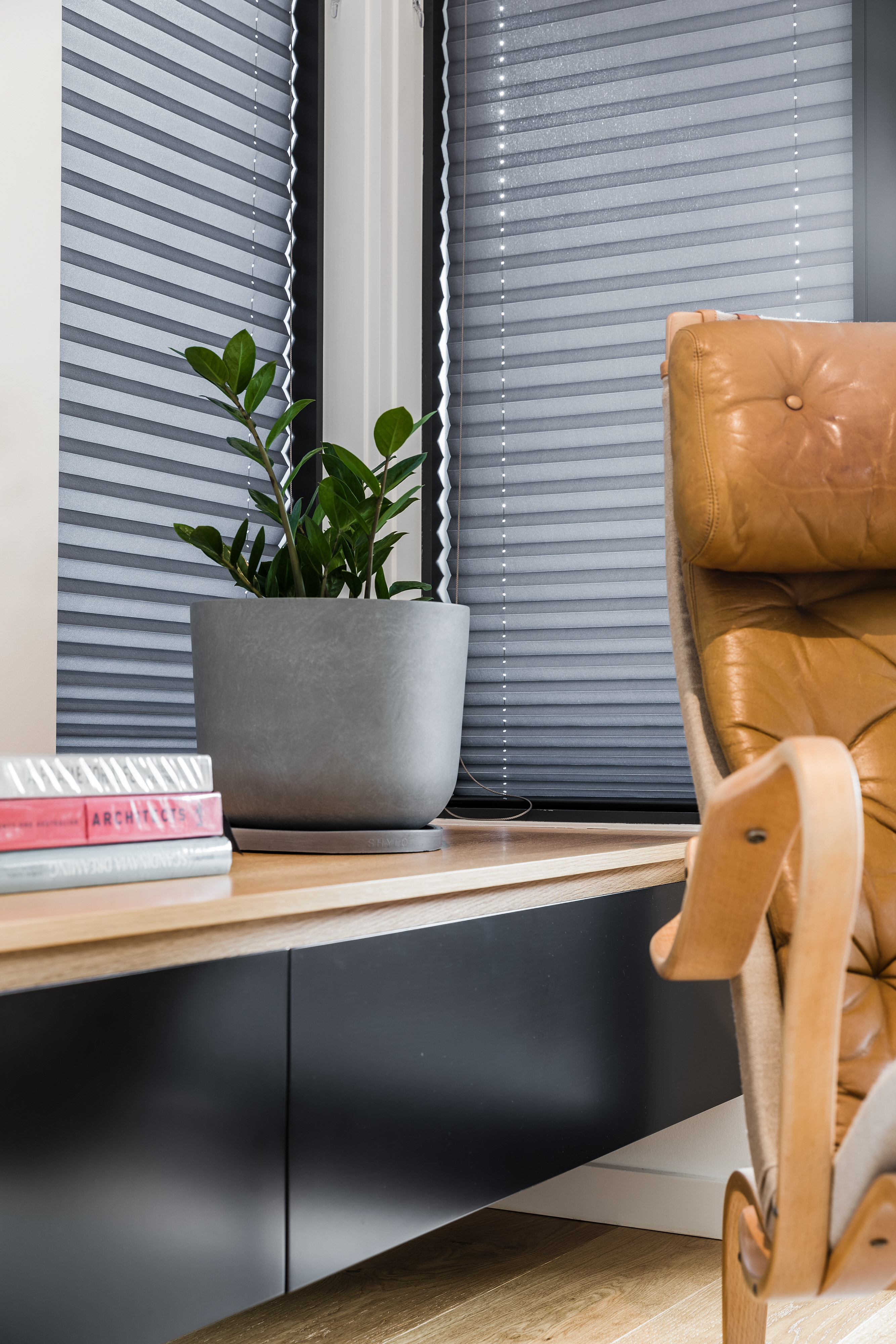 interior design detail photograph featuring grey pot plant and brown leather chair